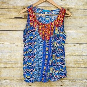 Buttons Tank Embroidered Chest Mulitcolor Large